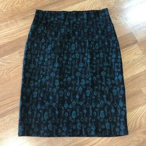 Lularoe Cassie skirt black with teal key design L